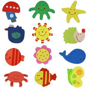 12pcs / lot Magnets autocollants Réfrigérateur coloré Cartoon animaux en bois autocollants Aimants Cartoon bois VT0116