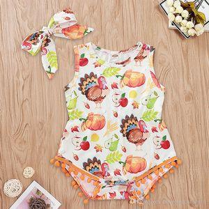 Bandeau bébé fille Thanksgiving Thanksgiving 2 pcs Turquie Thanksgiving Turquie imprimé Vêtements Onesie