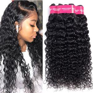 Virgem Cabelo brasileiro Water Wave 3 Pacotes molhado e onduladas extensões de cabelo humano tece 8-24inch Água Brasileira de onda Pacotes cabelo