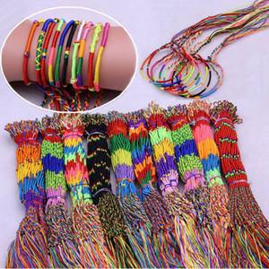 100 pçs / set meninas pulseira colorida linha colorida mão-tecida mão-tecida pulseira jóias de jóias de bom desejo para crianças homens mulheres presentes hha601