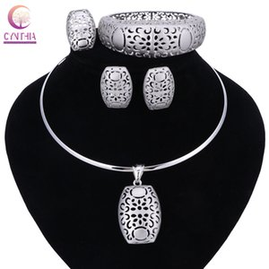 Nigerian Wedding African Beads Jewelry Sets Silver Color Women Necklaces Party Fashion Flowers Hollow Jewellery Accessories MX200528