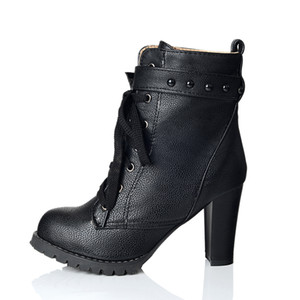 Venda quente-KarinLuna 2018 grandes Tamanhos 34-43 Ankle Boots Rebites de moda de Salto Alto mulheres Sapatos mulher Outono Inverno Quente Botas De Pele sapato feminino