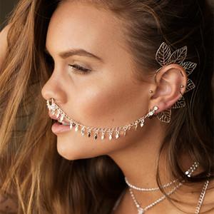 Moda europea e di personalità americani punk Naso anello della lega delle donne sexy orecchini geometrica nappa orecchini catena clip del naso