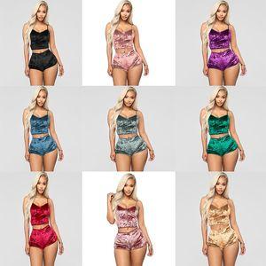 Womens Fashion Nightwear Nuovo Two Piece Abiti Estate Pigiama Sexy Pigiama Attivo Gilet Pantaloncini Nuovo Pantaloncini in due pezzi Tracksuits Underwear DA507