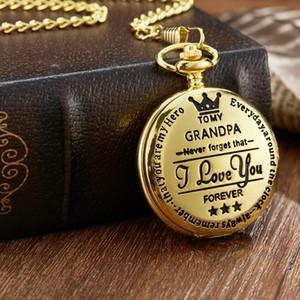 Dedem için izle Gorben Moda Charm Altın Roman numberal Pocket Saat Fob Saatler Kolye Zinciri Kuvars Pocket Watch Hediyeleri
