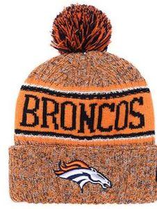 Top venda Denver gorro DEN beanie Sideline tempo frio reverso esporte Cuffed Knit Hat com Pom Winer crânio Cap