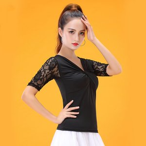 Wholesale-Lace Short-sleeve Modern Sexy V-Neck Latin dance clothes top for women female,Ballroom tango Costume performance wear YT0606