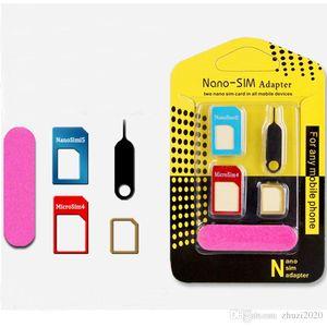 5 in1 metal de aluminio Nano tarjeta SIM a Micro SIM estándar adaptador convertidor expulsa el Pin para móviles