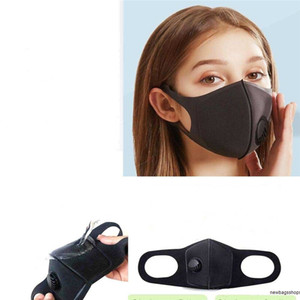 Original Sponge Filter Pm2.5 Air Pollution Winter Mouth Reusable With Breathing Valve Haze Dust Washed Black Face Mask Men Women SYWH