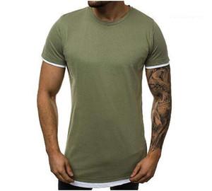 Мужская мода Одежда Боковая молния Tshirt шею с коротким рукавом Tshirts Сыпучие Summer Solid Color Designer Мужской