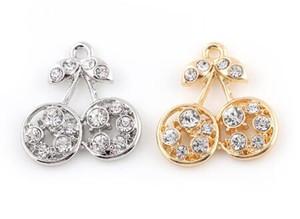 20pcs / lot 25x27mm (dorato, argento colore) strass ciliegio pendente appendiabiti in forma adatto per gioielli di medaglione pendenti galleggianti fai da te