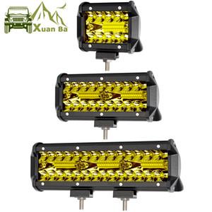 XuanBa 60W 120W 180W Offroad Led travail Light Bar pour 4x4 4 roues motrices Auto voiture camion 4 roues motrices SUV UTE UAZ moto jaune Conduite Antibrouillards 12V 24V