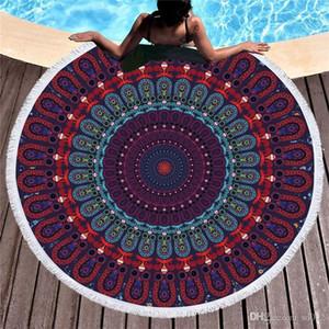 Circulaire fleur Serviette de plage Superfine fibre Bohême serviettes de bain Motif coloré multi pare-soleil crème solaire eau douce Uptake 29px A1