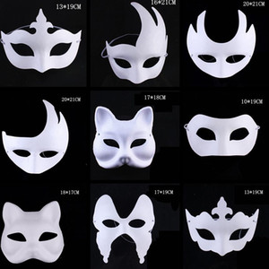 Creative Makeup Dance White Masks Embryo Mould Painting Handmade Mask Pulp Festival Crown Halloween White Face Mask Toy TA1542