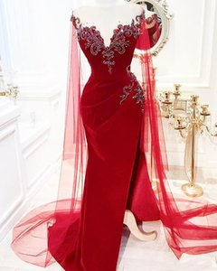 Party Dress Abiti da cristalli rossi in rilievo della sirena Abiti da sposa sweep treno Split Special Occasion su ordine