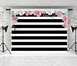Sonho Fotografia de casamento 7x5ft Fundo Crianças Birthday Party Background Prop foto do bebê Black White Strips contexto do estúdio Prop