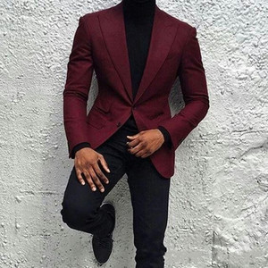 Burgonya Erkekler Suits Peaked Yaka Erkek Wedding Suit İki Düğme Erkek Ceket Blazer Ceket Balo Suit Kostüm Hommes 2 Adet Coat + Pant