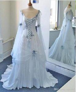 Branco e azul pálido colorido medieval vestidos de noiva decote colher espartilho longas de Bell mangas apliques Flores vestidos de casamento celtas Vintage