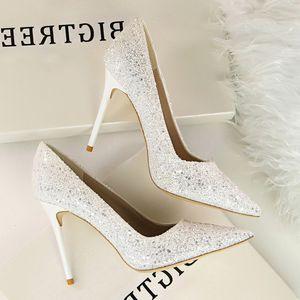 Goddess2019 Светлый цвет с пайеткой Sharp Red Fine с серебристым банкетом Туфли на высоком каблуке Свадебное платье Невеста Подружка невесты Женская обувь