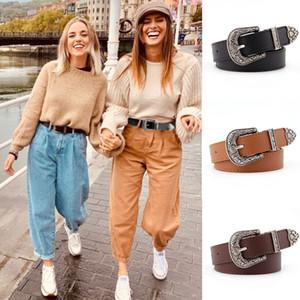 Black Leather Mulheres Belts Vintage ocidental da vaqueira Feminino cinto de metal Buckle Cinto Castanho Branco Carve Senhoras Jeans Calças Cintos