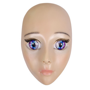 Hot 2019 New Anime Girl Mask Cosplay Cartoon Crossdresser Latex Adulti occhi azzurri Cute Anime Female Face Mask