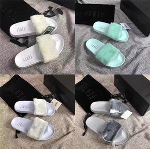 Scarpe Estate Appartamenti dolci Fur Slides reale della pelliccia di Fox pantofole misto del partito di colore di marca di lusso scarpe da spiaggia donna Drop Shipping # 971