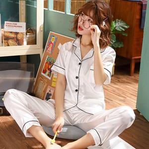 С коротким рукавом шелковая пижама весна лето Женщины Pajama наборы Silk Pijama пижамы пижама Плюс размер 3XL 4XL 5XL 85кг Ночное Set Y200107