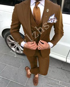 Custom-made Peak Lapel Groomsmen One Button Groom Tuxedos Men Suits Wedding Prom Dinner Best Man Blazer(Jacket+Pants+Tie+Vest) W190