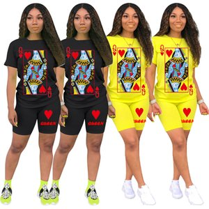 Womens Clothing 2 Piece Set Playing Card Printing Designer Womens Tracksuits Short Sleeve Tops Fashion Casual Suits