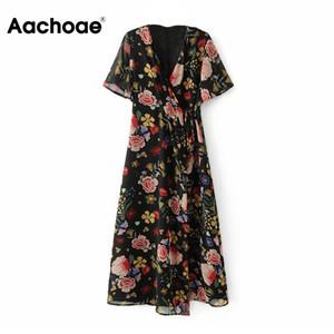 Aachoae шифон Цветочные печати Boho платья женщин V шеи Элегантный Длинные Wrap летнее платье с коротким рукавом Повседневная пляж платье Sundress