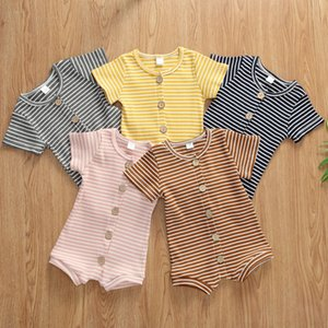 Baby Clothes Kids Striped Rompers Summer Newborn Short Sleeve Jumpsuits Infant Cotton Breathable Onesies Boutique Button Bodysuits