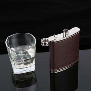 6oz Hip Flasks Leather Whiskey Flagon Leak Proof Stainless Steel Hip Flasks Outdoor Portable Wine Pot Pocket Flask CCA11829 50pcs