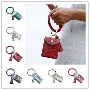 Caja dominante de las borlas del bolso del titular de la tarjeta de crédito PU leopardo de cuero pulseras de impresión regalos cartera de la moneda monedero con las llaves del anillo de llavero cero cambio E229