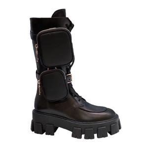 desinger de lujo libre del envío mujeres Zapatos de cuero reales de los grils de zapatos Monolito Mini bolsa de la rodilla alta de arranque de arranque de engranajes talón grueso del envío gratis