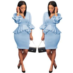 Women Office 2 Piece Dress Sexy Scuba Ruffle Long Lantern Sleeve V Neck Long Top High Waist Mini Skirt Set Work Skirts Outfits Light Blue