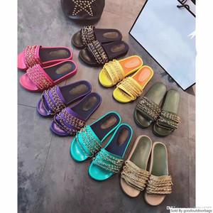 chaussures réelles! grande taille 40 41 42 véritable chaîne en cuir femmes de luxe plat slide design sandales en caoutchouc de cause à effet de plage en plein air