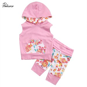 Pamuk Casual Çocuk Kız bebekler Kolsuz Kapüşonlular + Çiçek Pants 2PCS Kıyafetler Giyim Seti 0-18M Tops