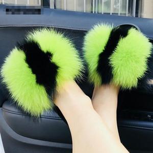 1pairs regalo di natale / 2pcs New Real pelliccia di Fox Pantofole donne dell'interno colore misto della peluche lanuginosa Sandali diapositive piano casuale esterna Furry Flip Flop