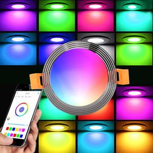 casa inteligente 9W RGB LED downlight CCT trabajo de control de APP con lámpara regulable Control por voz, más luz Amazon LED RGB