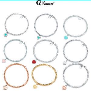Orijinal% 100 925 Gümüş Bileklik kolye Moda Kalp Boncuk Zincir Kadınlar Hediye için kolye Rose Gold ve Gold Seçimi