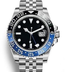 Nuovi orologi da uomo automatici Gmt in acciaio inossidabile Giubileo Orologi unidirezionali con ghiera nera e blu Lancette luminose e indici delle ore