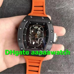 KV New Luxury Watches 052 Mens Watches MIYOTA 6T51 Automatic Black PVD Stainless Steel Case Black Skull Skeleton Dial Orange Rubber Strap
