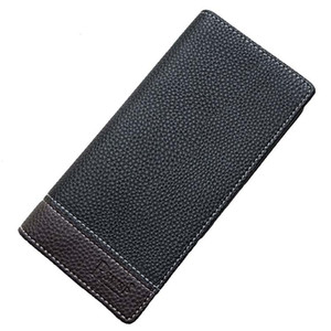 Мода Мужчины Двойные Кожа держателя карты Костюм Кошелек нагрудный карман Длинные бумажник чековой Черный