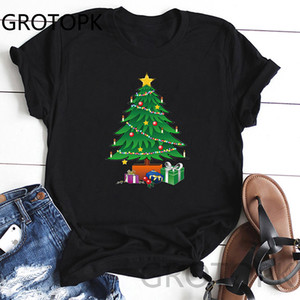 Christmas Tree New Fashion Funny T Shirts Tumblr Streetwear Vintage T Shirt Black Girl Tees Tops Femme Harajuku