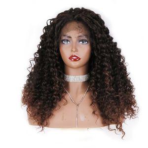 Ücretsiz Nakliye Yüksek Sıcaklık Uzun Afrika Amerikan Peruk 180% Yoğunluk Ombre Kahverengi Afro Kinky Kıvırcık Sentetik Dantel Ön Peruk Bebek Saç Ile