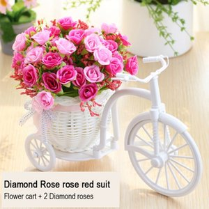 Artificial Rose Plastic Rattan Woven Cart Flower Pot Flower Basket Rattan Tricycle Bike Basket Vase Storage Home Decor