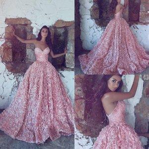 Nuevos vestidos de noche de lujo de color rosa Sweetheart Princess 2019 Vestidos de bola Apliques de encaje sin mangas Vestidos de baile Tren de barrido largo