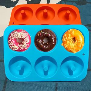 Moules à cuisson 6 cavité antiduffe de beignet Donut Donut Muffin Cake Silicone Beignet Beigneware Bakeware Moule moule de moule PAN WX9-1821