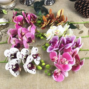 7pcs / lot Orchids branches Plowers Artificial Flowers artificielle home living room Decoration white orchid flores artificiales