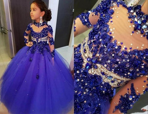 Customized Flower Girl Dress Long Sleeves Crystals Beading O Neck Puffy Tulle Kids Princess Birthday Dress Pageant Gowns
